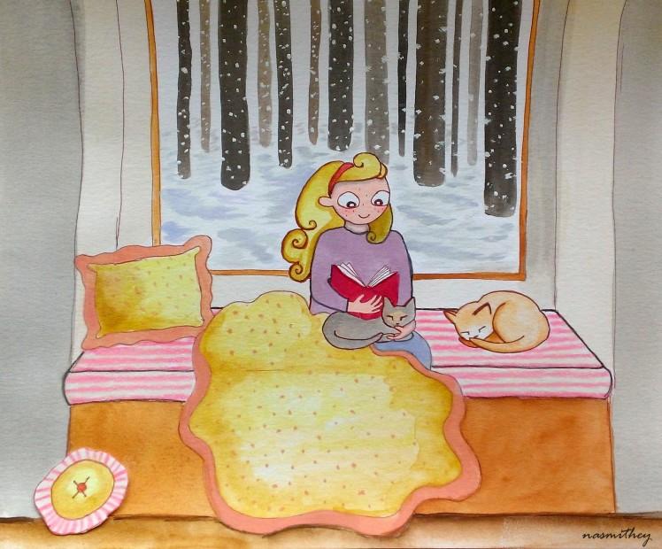 winter reading by paula nasmith